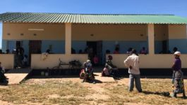 Patients waiting outside of a Zambian border facility